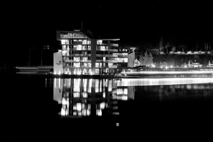 Floating Travel Blackandwhite Photography Blackandwhite Nightphotography Longexposure Night Lights Poland Mikołajki Built Structure Building Exterior Architecture Water Night Reflection Illuminated Building Sky Lake Outdoors Clear Sky City Waterfront Silhouette EyeEmNewHere