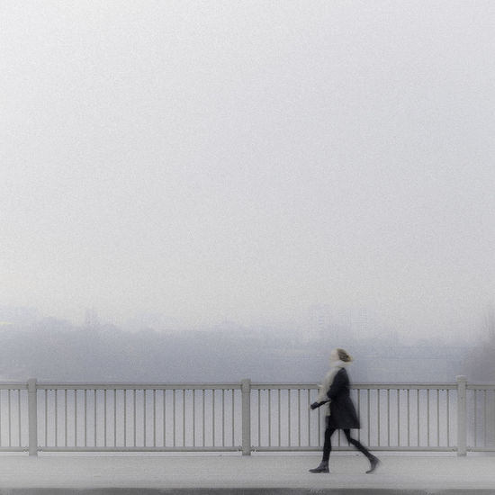 Girl passing bridge Bridge Foggy Girl Walking On Path. Minimalism One Person Street Streetphotography Walking EyeEmNewHere