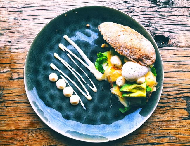delicious sandwich with egg yolk and fresh salad Sandwich Salad Breakfast Delicious Plate Directly Above Table Close-up Food And Drink Green Bean Legume Family Tuna Green Pea Prepared Food Comfort Food Bean