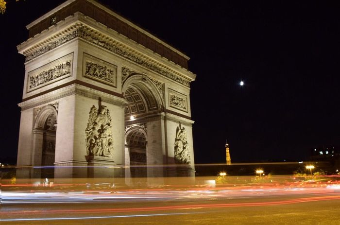 Arc de Triomphe by night, a nice spot to experiment with slow shutter speed Night Illuminated Light Trail Motion Long Exposure Architecture Built Structure History Travel Destinations Street Tourism City Triumphal Arch Speed Blurred Motion