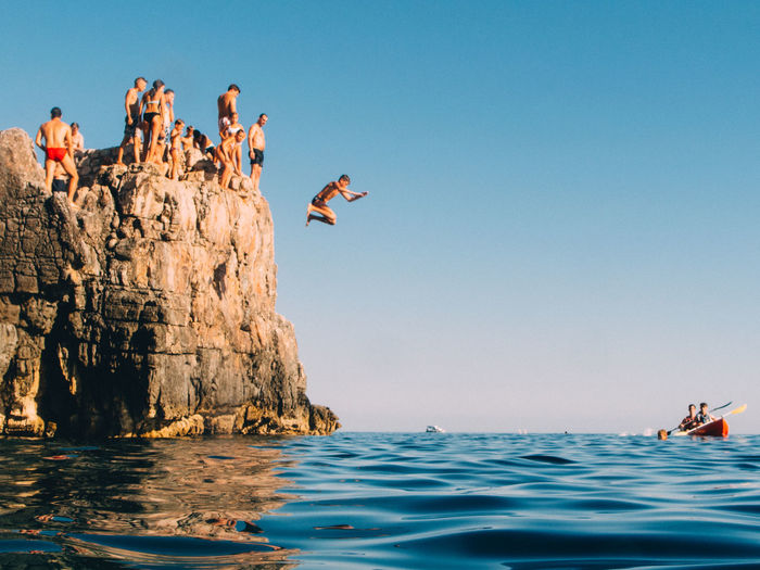 Summertime Blue Clear Sky Cliff Day Eyeemphoto Flying Lifestyles Nature Non-urban Scene Scenics Sea Summer Summer Views Summertime Swimming Vacations Water Waterfront The Great Outdoors - 2017 EyeEm Awards Sommergefühle Done That. Go Higher