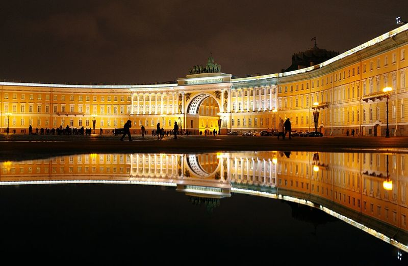 Reflection Architecture Night Tourism Built Structure Travel Destinations Travel Sky Beauty Illuminated Nightlife Water Outdoors No People Cityscape City