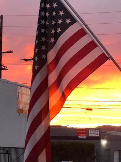 Sunset Sky Flag Striped Water Architecture Patriotism