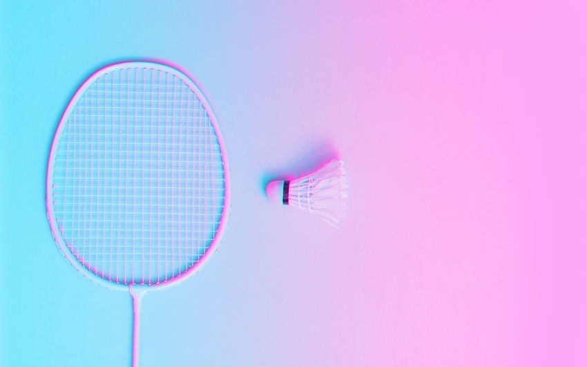 badminton neon color Monograph Badminton Shuttlecock Sport Neon Light Shadow Fashion Copy Space No People Pink Color Studio Shot Indoors  Close-up Blue Single Object Colored Background Still Life Communication Motion Speed Two Objects Healthcare And Medicine Technology Pink Background Cable