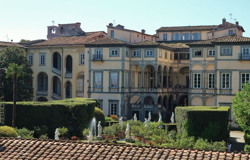 Lucca Italy Architecture Building Building Exterior Built Structure City Day Hedge History House Nature No People Old Outdoors Plant Residential District Roof Roof Tile Row House Sky The Past Tree Window