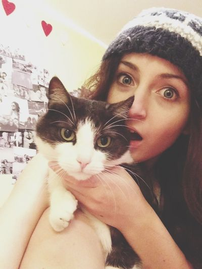 Cat Love Girl Silly Face
