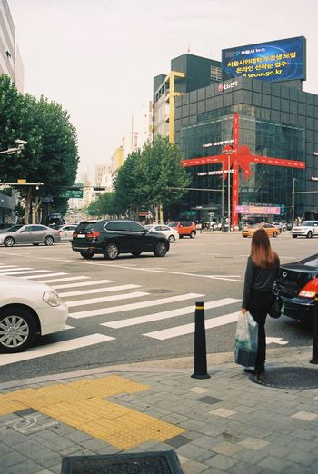 Full Length City Car Street One Person Outdoors Building Exterior Tree Day 신사 서울 Seoul Gift 선물 Film