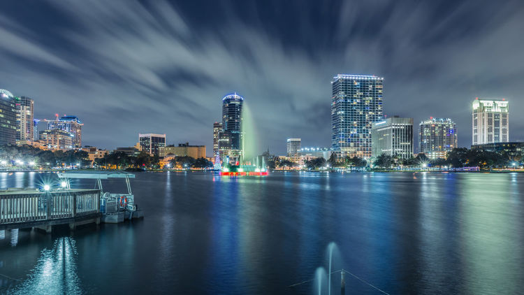 Orlando skyline Lake Eola Park Orlando USA Architecture Building Exterior Built Structure City Cityscape Cloud - Sky Florida Harbor Illuminated Modern Nature Night No People Outdoors Sky Skyscraper Travel Destinations Urban Skyline Water Waterfront Been There.