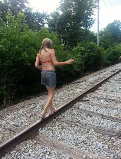 Train Tracks Walking Around Teenager Hanging Out Ohio, USA (on our way home from playing in the creek) Showcase: February Rebel Rebel 👍😏🙌🙌 Rebel Rebel