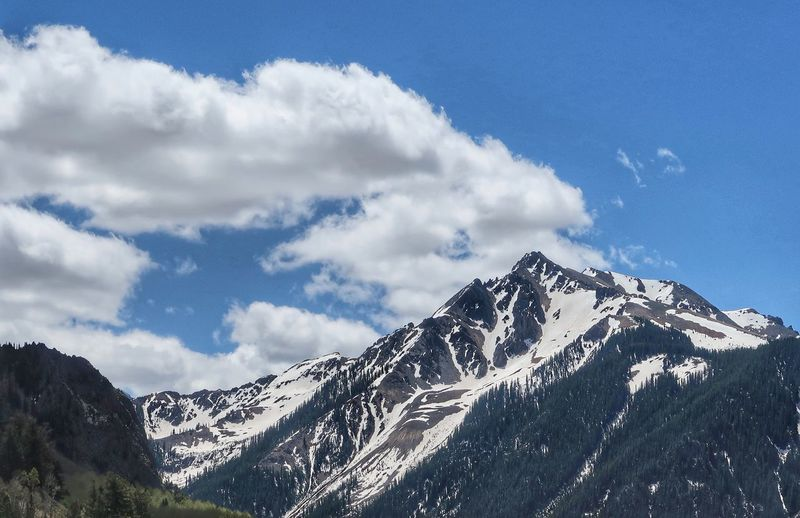 Low angle view of snow dappled mountain in Colorado San Juan Mountains Colorado Sky Mountain Cloud - Sky Beauty In Nature Snow Scenics - Nature Low Angle View Day Tranquility Mountain Range Winter Non-urban Scene Tree Snowcapped Mountain Tranquil Scene Plant Nature Cold Temperature No People Outdoors