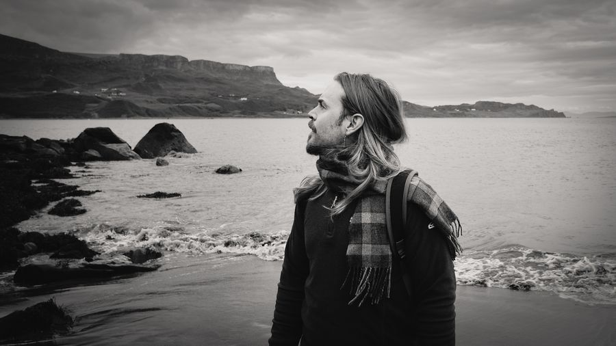 just me Sea Sea And Sky Blackandwhite Black & White Blackandwhite Photography Rocks Mountain Mountain Range Mountains Beach Portrait Cold Peaceful Scenics Landscape Nature Landscapes Beach Sea One Person Outdoors Sand Nature Water