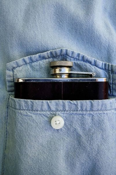 Whisky flask in denim shirt pocket Alcohol Blue Casual Clothing Close-up Container Denimshirt Drink Flask Full Frame Hipflask Leather Macho Metal Metalic No People Nobody Pocket  Sobriety