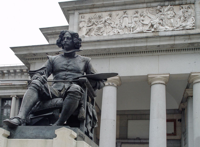 Statue of Diego Velasquez in front of Museum Prado (Madrid 2003) Architectural Column Architecture Art Art And Craft Building Exterior Built Structure City Creativity Culture Day Famous Place History Human Representation In Front Of Low Angle View Memories No People Outdoors Sculpture Sky Statue