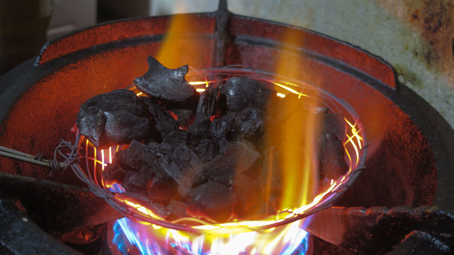 Vietnam Burning Close-up Coal Fire Fire - Natural Phenomenon Fireplace Firewood Flame Food And Drink Glowing Heat - Temperature Indoors  Kitchen Utensil Log Motion Nature No People Orange Color Preparation  Wood - Material