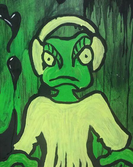 DJ Frog. Warrington. Colours Dj Frog Graffiti Music Toad Animal Art Cartoon Cartoons Close-up Colour Day Frogs Graffiti & Streetart Graffiti Art Graffiti Wall Graffitiporn Grafitti Green Color Indoors  Indoors  Inside No People No People,