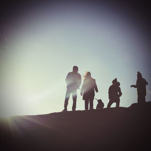 People And Places Silhouette Togetherness Lifestyles Leisure Activity Men Full Length Copy Space Clear Sky Friendship Mountain Sky Outdoors Solitude Nature Tranquility Tranquil Scene Remote Outline Scenics
