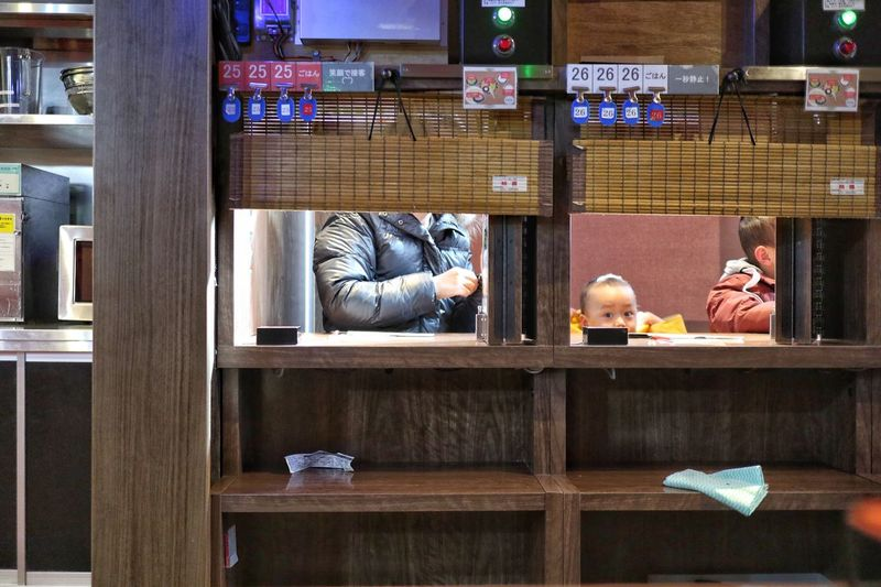Ichiran the famous ramen restaurant/一蘭 Sitting Two People Businessman Men Wood - Material Real People Indoors  Day Adults Only Only Men Bookshelf Adult Ramen Canon EOS M5 Low Section in Kashiwa Chiba Japan