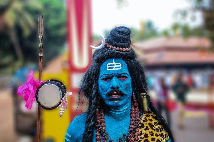 Portrait of man in shiva costume