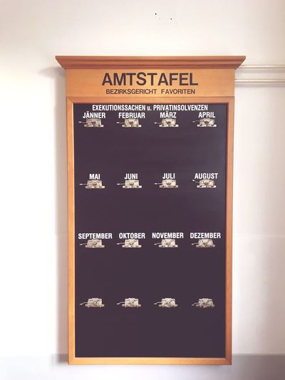 Old Board for Paper Announcements in a Court in Vienna