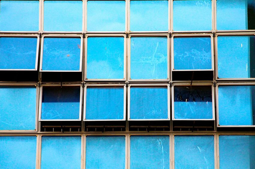 Blue Pattern Full Frame Backgrounds Building Windows Building Exterior Squares And Lines Texture Geometric Shape No People Architecture Close-up Abstract Pattern, Texture, Shape And Form Business Finance And Industry Modernism Urban Photography Minimalist Architecture The Architect - 2017 EyeEm Awards