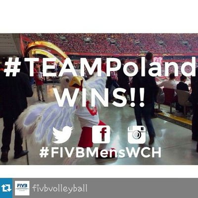 Repost from @fivbvolleyball with @repostapp — Teampoland scores the first FIVBMensWCH win! The action continues Sunday! Join the conversation. Fivb volleyball