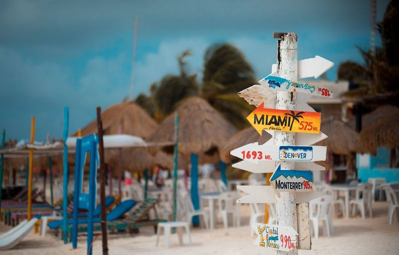 This way to the beach... or some place else Outdoors Travel Destinations Beach No People Sky Canonphotography Canon Canon5dmarkiv Water Xpu-ha Mexico Riviera Maya, Mexico Riviera Maya Beached Focus On Foreground Day Travel 85mm Relaxed Sign Signpost Colours Empty