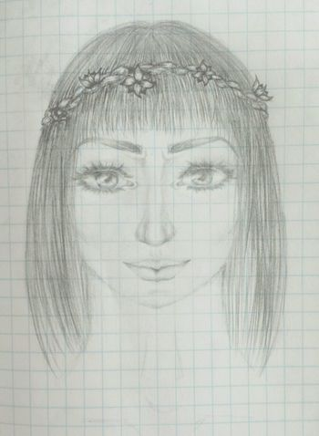 Drawing Woman Getting Inspired Flowers Eyes Pencil