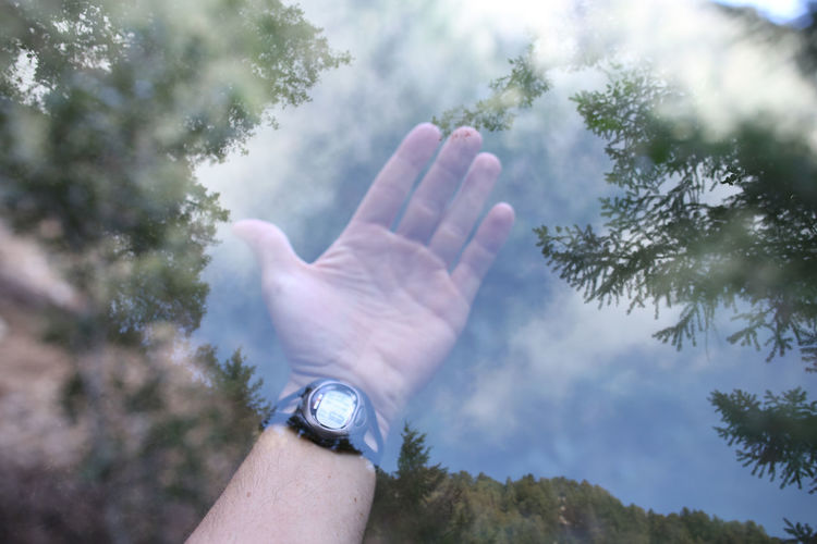 Close-up Day Double Exposure Human Body Part Human Finger Human Hand Leisure Activity Lifestyles Men Nature One Person Outdoors People Real People Sky Time Tree Watch Wristwatch