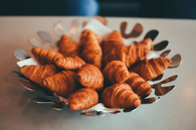 Close-up of french croissants