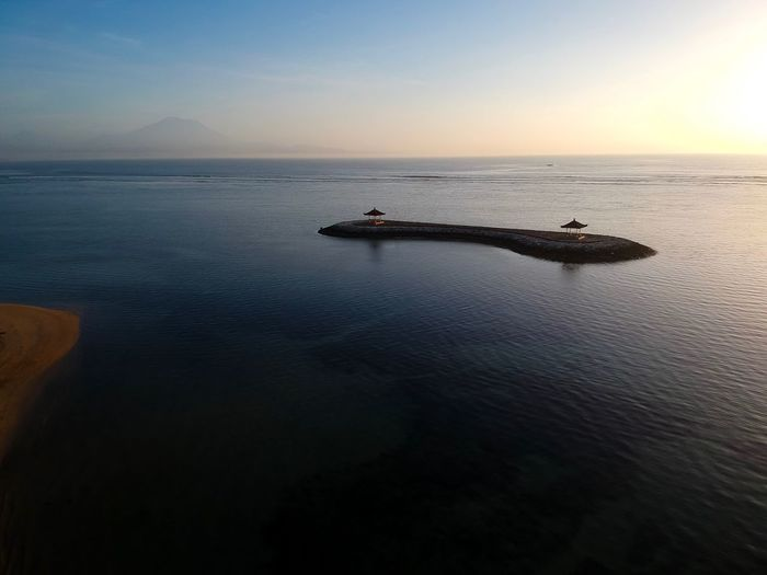 Sunrise at Sanur. Sanur Bali Gunung Agung Agung Mountain Mount Agung Island Life Paradise Dji Spark Bali, Island Of The Gods Vacations Holidays Travel Travel Destinations Tranquility Beach Worlds Best Beaches Sunrise Tranquility Tranquil Scene Scenics Beauty In Nature Nature Water Sea Outdoors Sky Waterfront Horizon Over Water No People Clear Sky