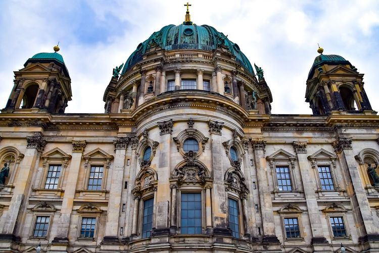 Low angle view of berlin cathedral in city