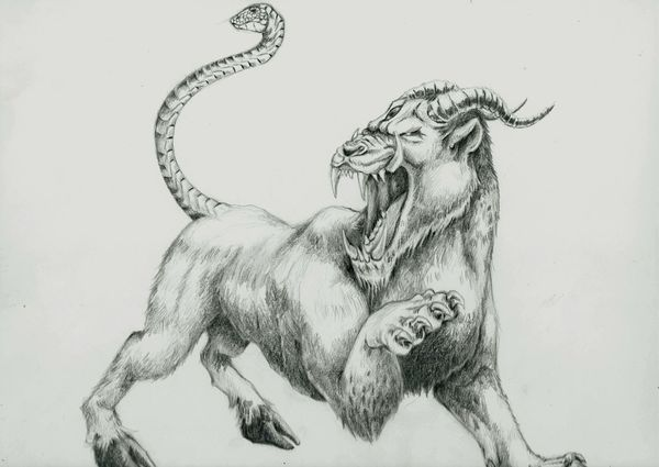 Sketch Drawing The Chimera. Concept Art Fantasy Art Beasts Strange Creatures Chimera Mythical