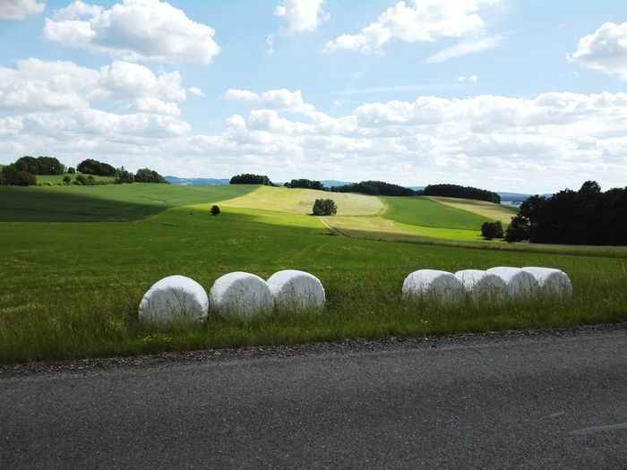 idyllic rural scene with green hills trees and hay bales beneath a road Rural Nature Landscape Countryside Hay Bale Agriculture Meadow Season Summer Road Hill Germany Outdoors Landscape Tranquil Scene Day No People Cloud - Sky Nature Grass Sky Beauty In Nature Scenics Tree Mammal