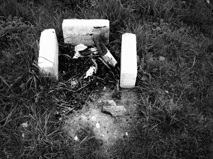Burn Baby Burn Bonfire Abandoned Ash Black And White Close-up Field Grass High Angle View Nature No People Outdoors