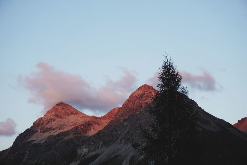 Mountain peaks glowing in sunset Graubünden Switzerland Arosa Sunset Sky Mountain Cloud - Sky Nature Beauty In Nature Low Angle View Tree Scenics - Nature Plant No People Day Tranquil Scene Tranquility Non-urban Scene Outdoors Mountain Range Land Idyllic Travel Destinations Mountain Peak