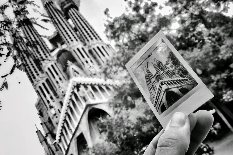 Architecture Outdoors Focus On Foreground Tall The Past Tourism Tourist Attraction  Blackandwhite Black And White Monochrome Sightseeing Sagrada Familia Travel Photography Traveling Fuji Instax Polaroid Wandering Around Barcelona Monochrome Photography