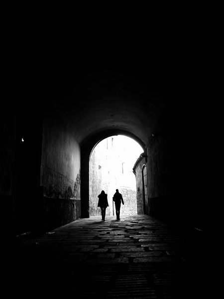 Arch Black Black And White Photography Full Length People Rear View Silhouette Tunnel Two People