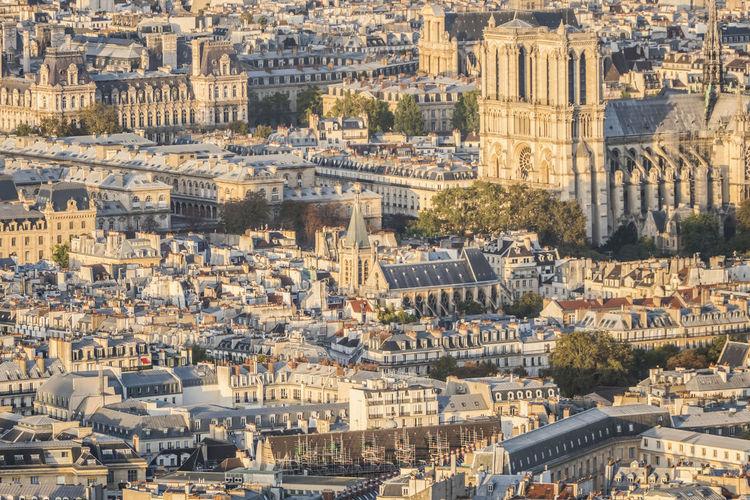 Aerial view of the center of paris