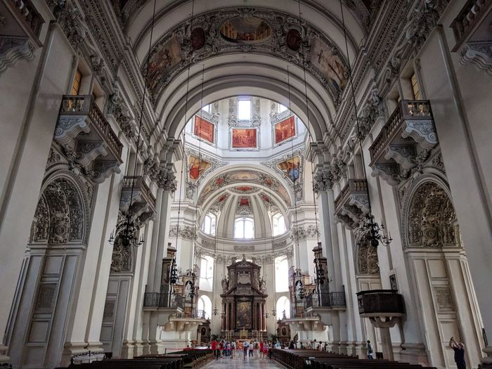 Salzburg Salzburger Dom Kathedrale Kathedral Place Of Worship Architectural Column Religion History Arch Window Medieval Rose Window Architecture Architecture And Art Ceiling Fresco