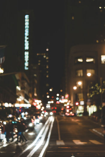 Architecture Bokeh Building Exterior Built Structure Car City City Life Cityscape Defocused Illuminated Night No People Out Of Focus Outdoors Road San Francisco San Francisco Streets Skyscraper Street Street View Traffic Transportation Tree HUAWEI Photo Award: After Dark