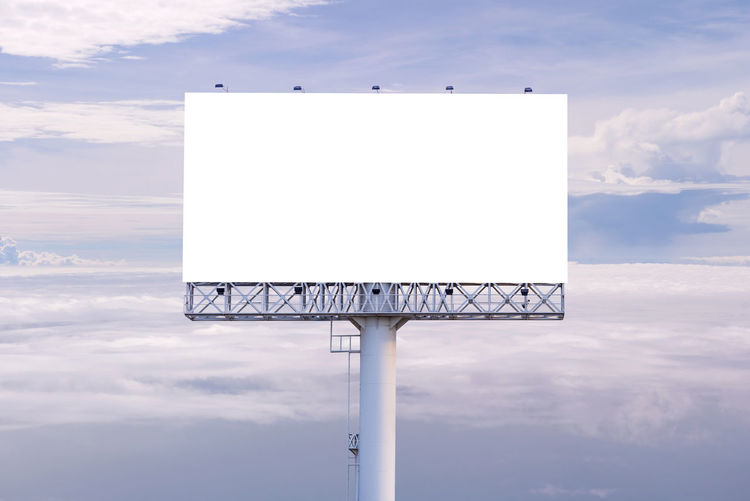 Advertisement Billboard Blank Board Cloud - Sky Communication Copy Space Day Geometric Shape Marketing Message Nature No People Outdoors Placard Rectangle Shape Sign Sky Sport White Color