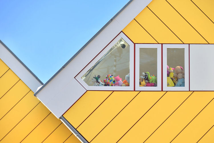 Toy House Architecture Geometry Toys Travel Window Day House Yellow Rotterdam Europe Netherlands No People Building Exterior NL528_ROTTERDAM_AK NL528_NETHERLANDS_AK