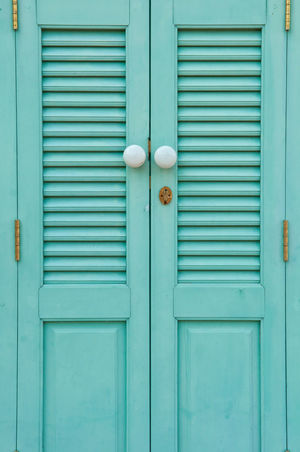 The antique door was newly painted in turquoise blue. Aged Beauty Antique Architecture Bolts Building Exterior Closed Closed Door Decoration Door Hinges Door Knob Hasp Key Hole Newly No People Oriental Style Outdoors Painted Retro Styled Turquoise Blue Wintage Wood - Material Wooden
