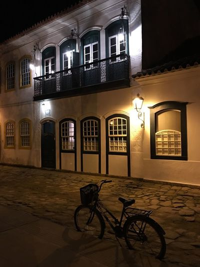 Paraty Street Built Structure Architecture Bicycle Transportation Building Exterior Night Mode Of Transportation Outdoors