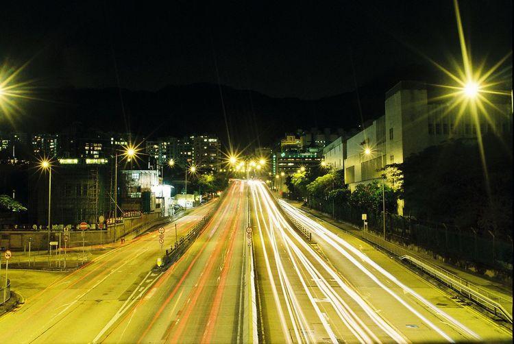 Road Kodak Colorplus200 Nikkor 35mm Ais Nikonf2 Nikon Illuminated Night Light Trail Speed Long Exposure Transportation Street Light