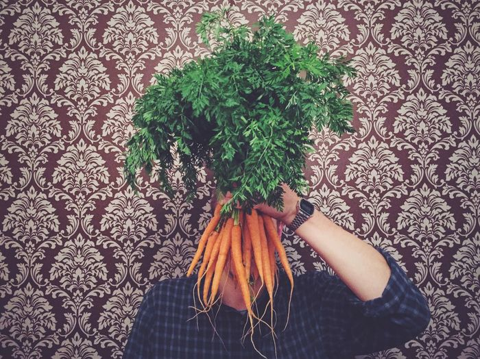 Person Holding Carrots Against Patterned Wall
