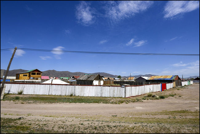 The houses of Mongolia, Blue sky, Travelling, suburban landscape.