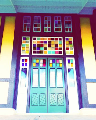 Its not an entrance but one of the doors at the back of the Rotorua Museum. Colours Of The Museum Sky Reflections Splash Of Colors Rotorua New Zealand Open Edit Blue Yellow Red Green Looking Upward Purple Eyem Showcase: February Doors The Week On Eyem