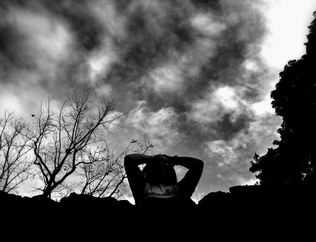 Silhouette Sky Only Men Adults Only Cloud - Sky One Person One Man Only Men Low Angle View Outdoors People Nature Adult Tree Day Human Hand EyeEm Best Shots - Black + White Monochrome Photograhy Eyeemphonephotography EyeemPhilippines Mobilephotography Eyeem Philippiness