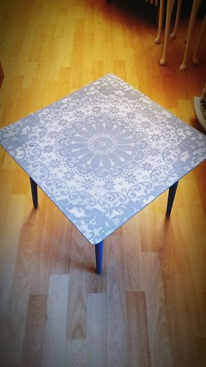 "Blue and white ""lace"" end table. £15."